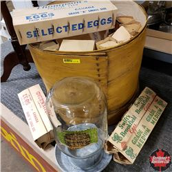 Round Cheese Box w/Vintage Egg Cartons & Chicken Waterer