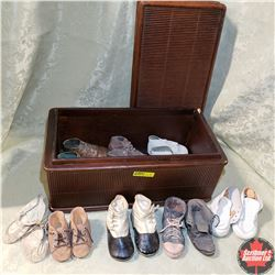 Wooden Box w/Collection of Children's Shoes & Ornamental Shoes