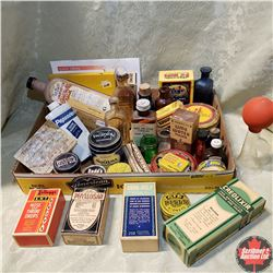 Tray Lot: Variety of Vintage Pharmacy/Apothecary Bottles & Boxes