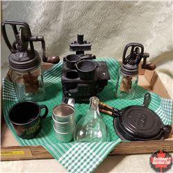Tray Lot - Miniature Items:  Cook Stove, Waffle Iron, Butter Churns, etc