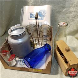 Tray Lot - Dairy Item Combo: Sour Cream & Cottage Cheese Jars in Carrier, Blue Milk Bottle, Butter P