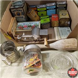 Tray Lot - Vintage Kitchen Items: Confectionery Tins, Wooden Pestle, Juicer, Grinder, Flour Sifter,