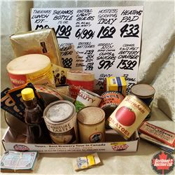 Tray Lot - Vintage Confectionery Items: Tins, Grocery Price Sign, etc