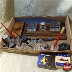 Tray Lot : Ink Wells, Calligraphy Pens, Ink, Roller Stamp Press, etc