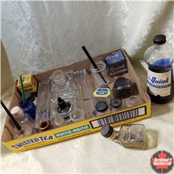 Tray Lot : Ink Wells, Calligraphy Pens, Ink, Glass Ink Station, etc