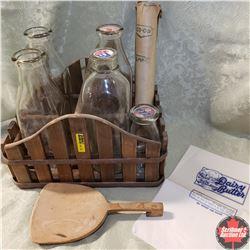 Wood Slat Bottle Carrier w/5 Dairy Bottles, Pogs, Wrappers & Treenware Paddle
