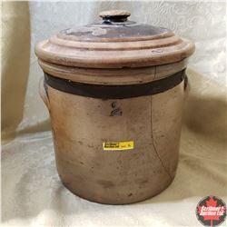 2 Gallon Salt Glaze Crock w/Lid (Crock cracked)