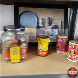 Framed Picture - Baking Scene (18  x 14 ) & Jar & Variety Spices/Baking Powder Containers