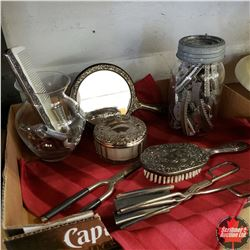 "Tray Lot - Ladies Group : Silver Plated Brush/Mirror/Comb ""Dresser"" Set; Vintage Curling/Crimping Ir"