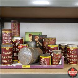 Tray Lot: Variety Magic Baking Powder Tins (13) & Cookbooks (3)