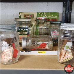 Tray Lot: Variety Nabob Coffee Jars (6) & Vintage Catalog & Nabob Coupons