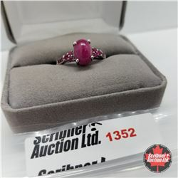 CHOICE OF 29 RINGS:  1352 Ring - Size 9: Ruby Lab Ruby (Platinum Overlay)