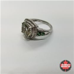 CHOICE OF 29 RINGS:  1355 Ring - Size 9: Green Amethyst (Platinum Overlay)