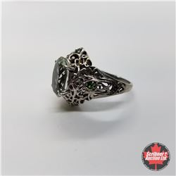CHOICE OF 29 RINGS:  1356 Ring - Size 9: Prasiolite Simulated Green Diamond - Sterling Silver - Plat
