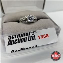 CHOICE OF 29 RINGS:  1358 Ring - Size 8: Simulated Diamond - Sterling Silver
