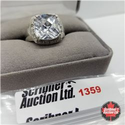 CHOICE OF 29 RINGS:  1359 Ring - Size 9: Topaz - Sterling Silver - Platinum Bond Overlay