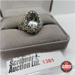 CHOICE OF 29 RINGS:  1361 Ring - Size 9: Prasiolite Simulated Emerald - Sterling Silver - Platinum B