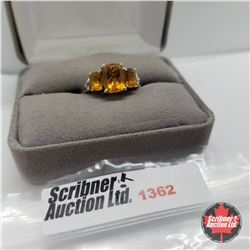 CHOICE OF 29 RINGS:  1362 Ring - Size 9: Citrine (Platinum Overlay)