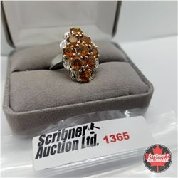 CHOICE OF 29 RINGS:  1365 Ring - Size 9: Citrine (Platinum Overlay)