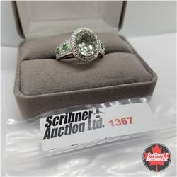 CHOICE OF 29 RINGS:  1367 Ring - Size 9: Green Amethyst Simulated Emerald (Platinum Bond)