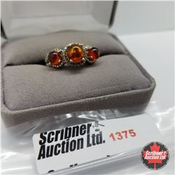 CHOICE OF 29 RINGS:  1375 Ring - Size 7: Baltic Amber Diamond (Platinum Overlay)