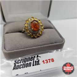 CHOICE OF 29 RINGS:  1378 Ring - Size 8: Sim. Baltic Amber / Citrine - Platinum Bond Overlay