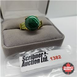 CHOICE OF 29 RINGS:  1382 Ring - Size 10: Malachite & Peridot - Sterling Silver - 18k ION Plated Bra