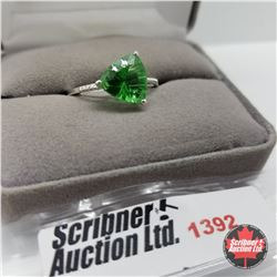 CHOICE OF 29 RINGS:  1392 Ring - Size 10: Simulated Emerald - Sterling Silver