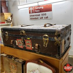 """Steamer Trunk (40""""Wx22""""Dx13""""H) with Many Travel Stickers !"""