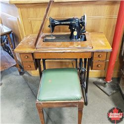 Singer Sewing Machine & Stool (Converted to Electric)