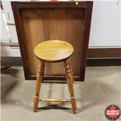Combo: Wooden Stool & Wooden Deep Picture Frame