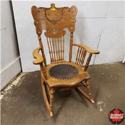 Leather Seated Rocking Chair