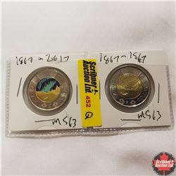 Canada One Dollar - Strip of 2: 1867-2017 (Northern Lights)
