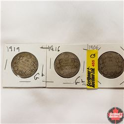 Canada Fifty Cent - Strip of 3: 1906; 1916; 1919