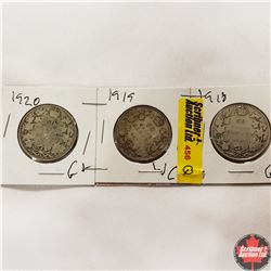 Canada Fifty Cent - Strip of 3: 1918; 1919; 1920