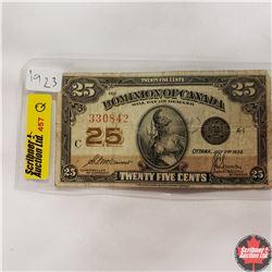 "Dominion of Canada ""Shinplaster"" Twenty Five Cent Bill 1923"