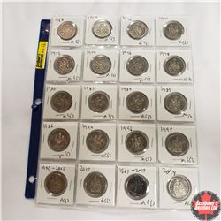 Canada Fifty Cent - Sheet of 20: 1968; 1969; 1970; 1971; 1972; 1974; 1976; 1978; 1980; 1983; 1984; 1