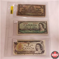 Canada Bills - Sheet of 3: $1 Bill 1937; $1 Bill 1954; $1 Bill 1973