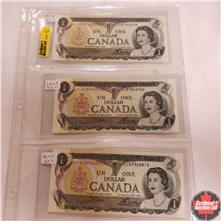 Canada $1 Bills - Sheet of 3 (Unc) : 1973; 1973; 1973