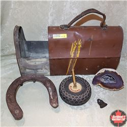 Tin Lunch Pail (Slide Out Style) w/Contents:  1939 Dog Tag, Horseshoe, Tire Pen Holder & Gold Miner