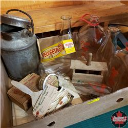 Tray Lot - Dairy Item Combo: Milk Bottles, Cream Can, Butter Press, Treenware Paddle, Cheese Boxes,
