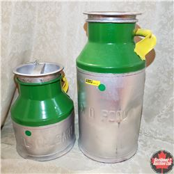 Pair of Cream Cans (Part Yellow/Green Paint)