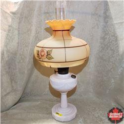 Aladdin Lincoln Drape Lamp w/Model B Burner & Floral Glass Shade