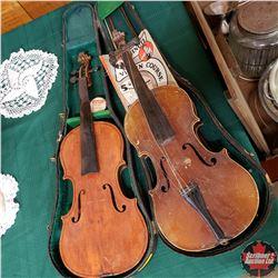 Violins & Bows (2) & Case (1) (Needs some TLC)