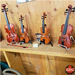 2 Mini Battery Operated Violins (Auto Play) & 2 Small Ornamental Violins