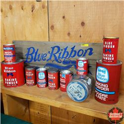 Blue Ribbon Collection : Variety Tins (9) Jar (1) & Wood Crate Side