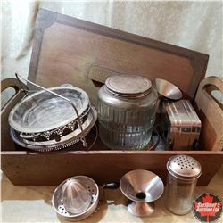 Bread Box w/Contents: Variety of Kitchen Items (Toaster, Glass Coffee Canister, Juicer, etc)