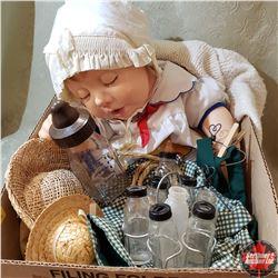Box Lot: Doll & Vintage Doll Bottles (8) & Doll Clothing & 1 Baby Bottle