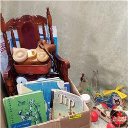 Box Lot: Children's Toys, Books, Chair & Bottles