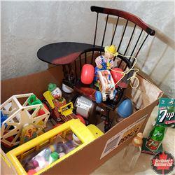 Box Lot: Children's Toys, Books, Desk Chair & Bottles